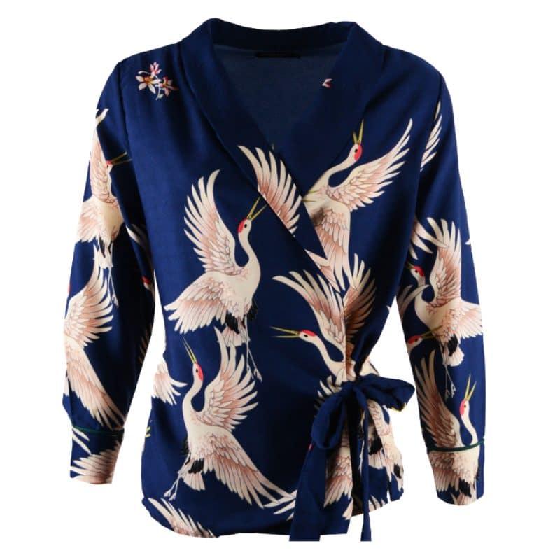 omslagblouse blauw vogels