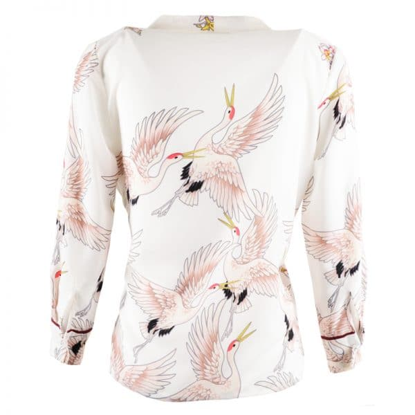 omslagblouse wit vogels