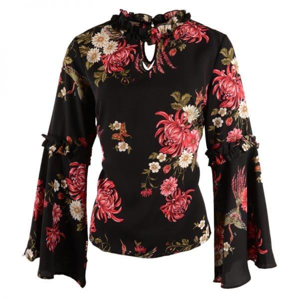 zwarte blouse met bloemen
