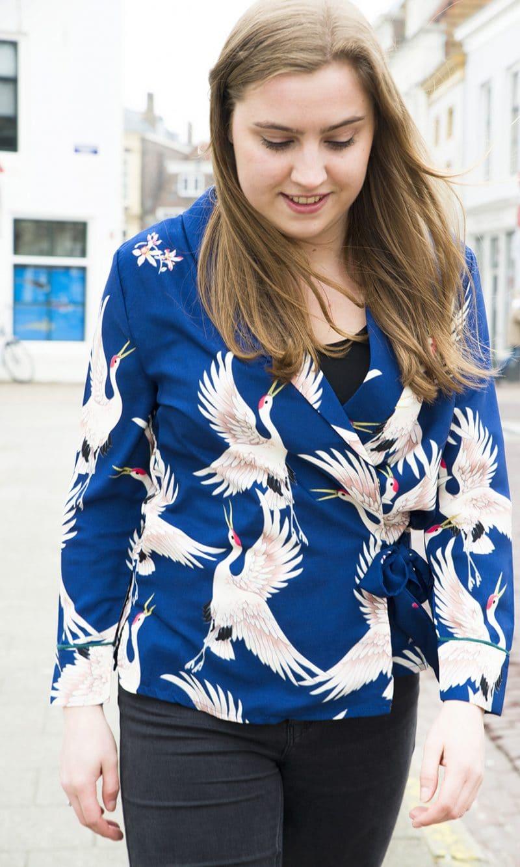birdyomslagblouse blauw