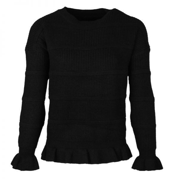 zwarte black ruffle trui