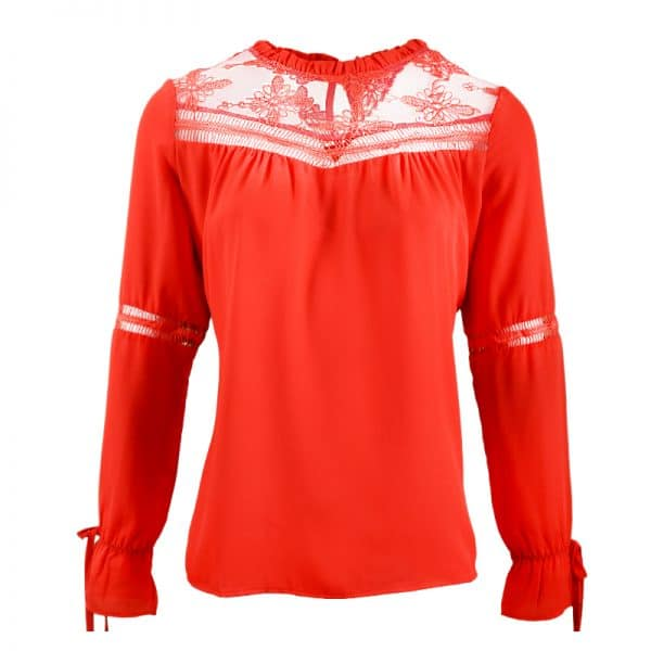 rode blouse met kant