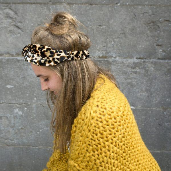 haarband panterprint velvet
