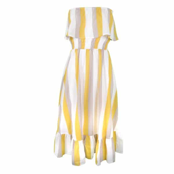 jurk geel stripe yellow grijs