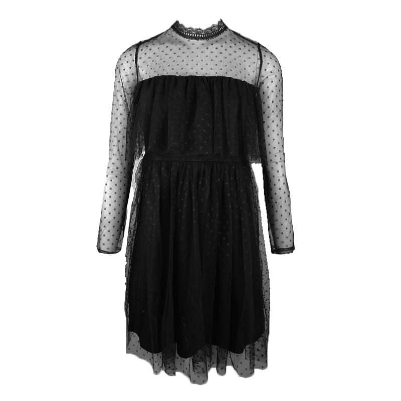 zwarte jurk met stippen