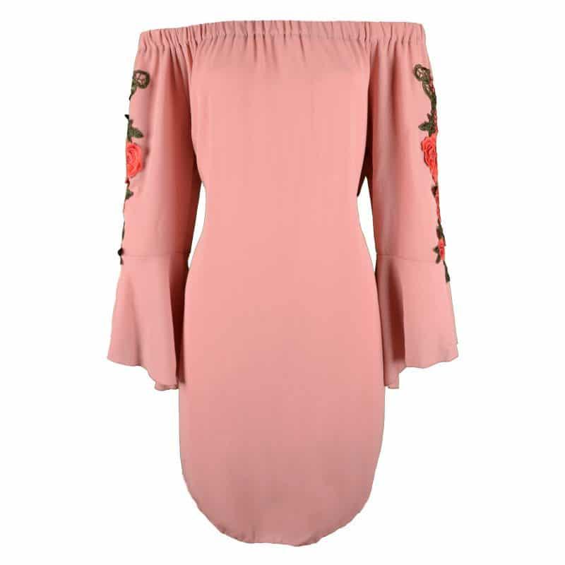 off shouder jurk roze met bloem