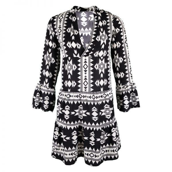 aztec print jurk zwart wit