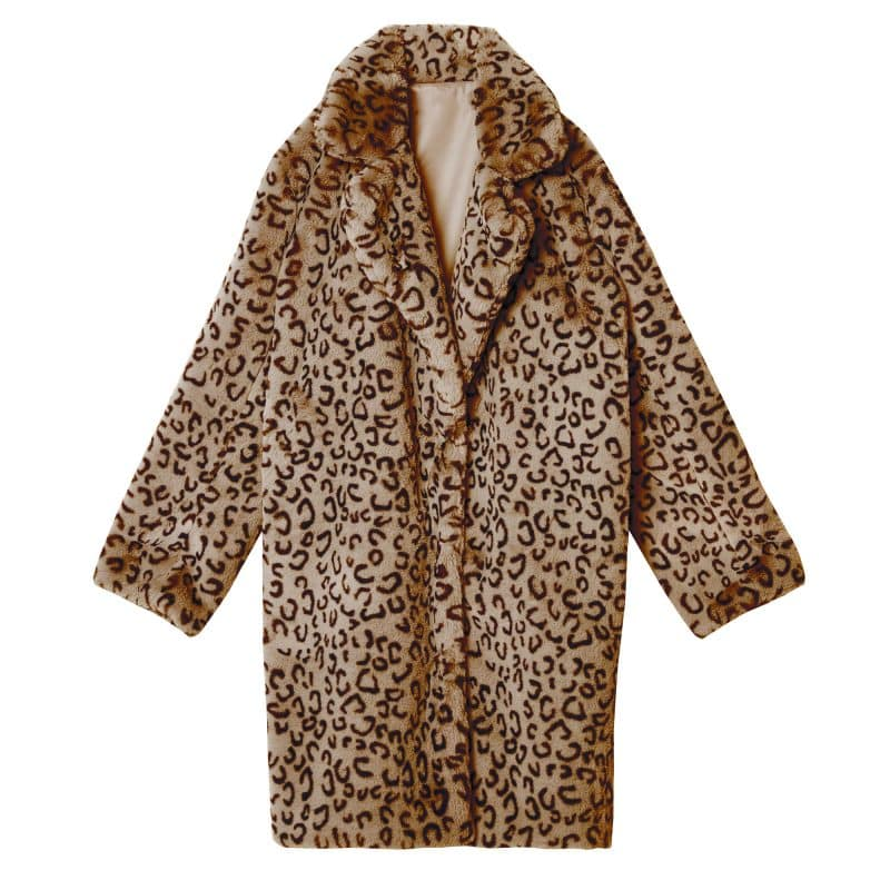bruine faux fur jas leopard