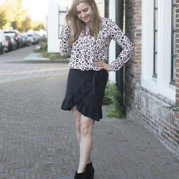 blouse leopard rokje roesel zwart