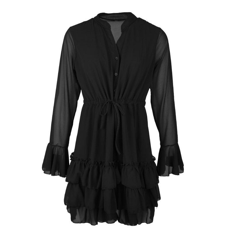 zwart jurkje met ruffles